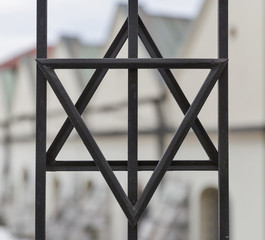 Star of David closeup in Kazimierz, Jewish quarter of Krakow, Poland.