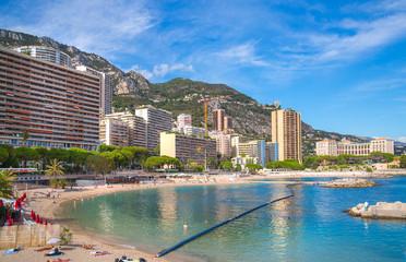 Monte Carlo.  Page du Lavotto, the only public beach of Monaco