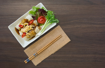 Fresh spring rolls with vegetables in white dish