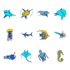 Sea world creatures and fish flat icons set on background