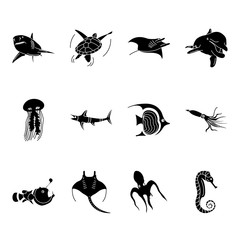 Sea world creatures and fish silhouette icons set on background