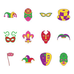 Mardi Gras flat icons set on background