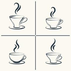 Coffee cups with smoke icon set. Vector illustration
