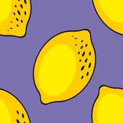 Lemons. Seamless pattern on a purple background