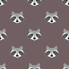 Stylized head raccoon. Seamless pattern
