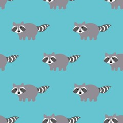 Raccoons in a cartoon style. Seamless pattern