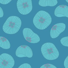 Jellyfish. Seamless pattern on a blue background