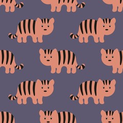 Stylized tiger cartoon style. Background