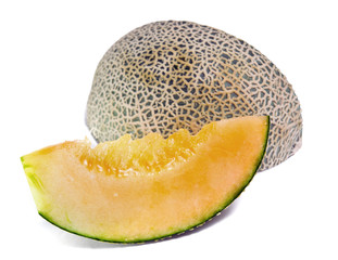 Cantaloupe or Charentais melon isolated on white
