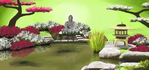 Photos illustrations et vid os de jardin zen for Lanterne jardin zen