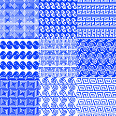 The vector collection of Greek traditional ethnic and modern seamless patterns for decoration background, textile, fashion design. Set of geometric ornaments in blue and white colors