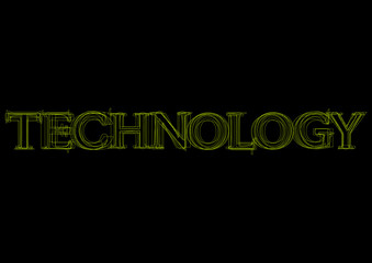 Vector word technology,  green light on black background