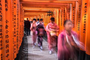 Wall Mural - Japaner besuchen den Fushimi Inari Schrein in Kyoto, Japan