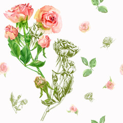 Floral square seamless pattern with roses, pink, red flowers, bouquet, stems, leaves on white background, hand draw watercolor painting and sketch, botanical illustration, vintage