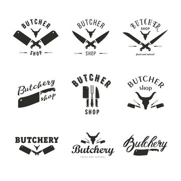 Big set of butchery logo templates. Butchery labels with sample text. Butchery design elements and farm animals silhouettes for groceries, meat stores, packaging and advertising.
