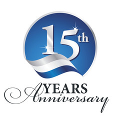 Anniversary 15 th years celebrating logo silver white blue ribbon background
