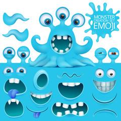Funny octopus emoji monster character creation set