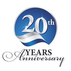 Anniversary 20 th years celebrating logo silver white blue ribbon background
