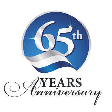 Anniversary 65 th years celebrating logo silver white blue ribbon background