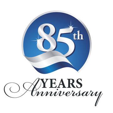 Anniversary 85 th years celebrating logo silver white blue ribbon background