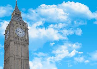 Postcard with Big Ben closeup, and a beautiful sky