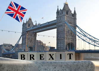Concept brexit with UK flag on the background of the Tower Bridge in London