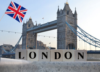 The capital of Great Britain London in the form of the concept of dice and letters