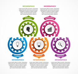 Abstract gears infographic. Design element. Infographics for business presentations or information banner.