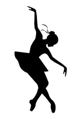Silhouette of the ballerina on a white background , vector. Ballet, dance.Reverence.