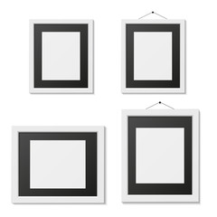 Set of black and white picture frame template, isolated, vector illustration