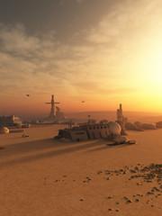 Desert Outpost on an Alien Planet - science fiction illustration