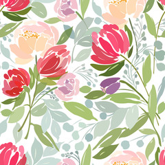 Seamless pattern with a bouquet of peonies and leaves on a white background.