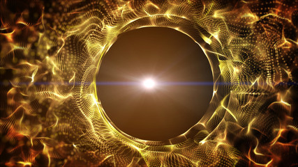 Dark gold yellow and glow particle circle abstract background with light ray effect.