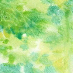 Abstract hand painted watercolor background on textured paper in green shades