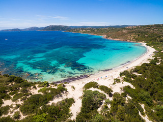 Aerial  view  of Palombaggia beach in Corsica Island in France