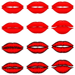 Red lips with dark red path and red lips with black path.