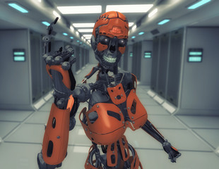 3d rendering. Female robot number one