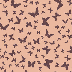 Symmetrical pattern of random butterflies in gentle pastel tones. Suitable for festive and celebratory decoration.