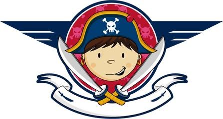 Cute Cartoon Pirate Captain and Crossed Swords