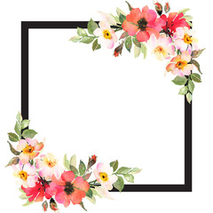 Floral square background template with roses and black frame