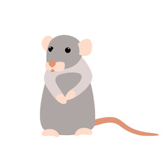 rat cartoon  vector illustration style Flat