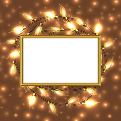 Keuken foto achterwand Theater Gold frame with place for text surrounded by Colorful Glowing Christmas Lights.Vector elements can be used as backdrop in new Year card. Holiday Illustration