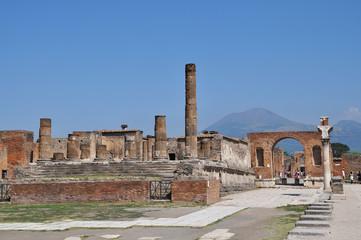 Roman ruins after the eruption of Vesuvius in Pompeii, Italy