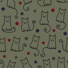 Hand drawn vector seamless pattern with cats