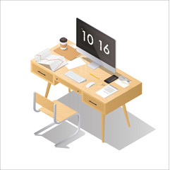 Isometric home office concept