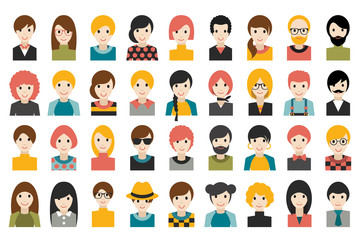 Mega set of diverse people heads, avatars isolated on white background. Different clothes, hair styles. Flat stylized cartoon vector.
