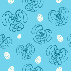 pattern fun easter bunny with easter eggs seamless texture blue