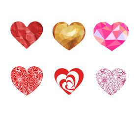 set heart for Valentine's Day on white