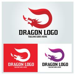 Dragon logo design template. Letter D logo design concept. Vector illustration