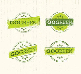 Go Green Recycle Reduce Reuse Eco Stamp Concept Set. Vector Creative Organic Illustration On Paper Background.